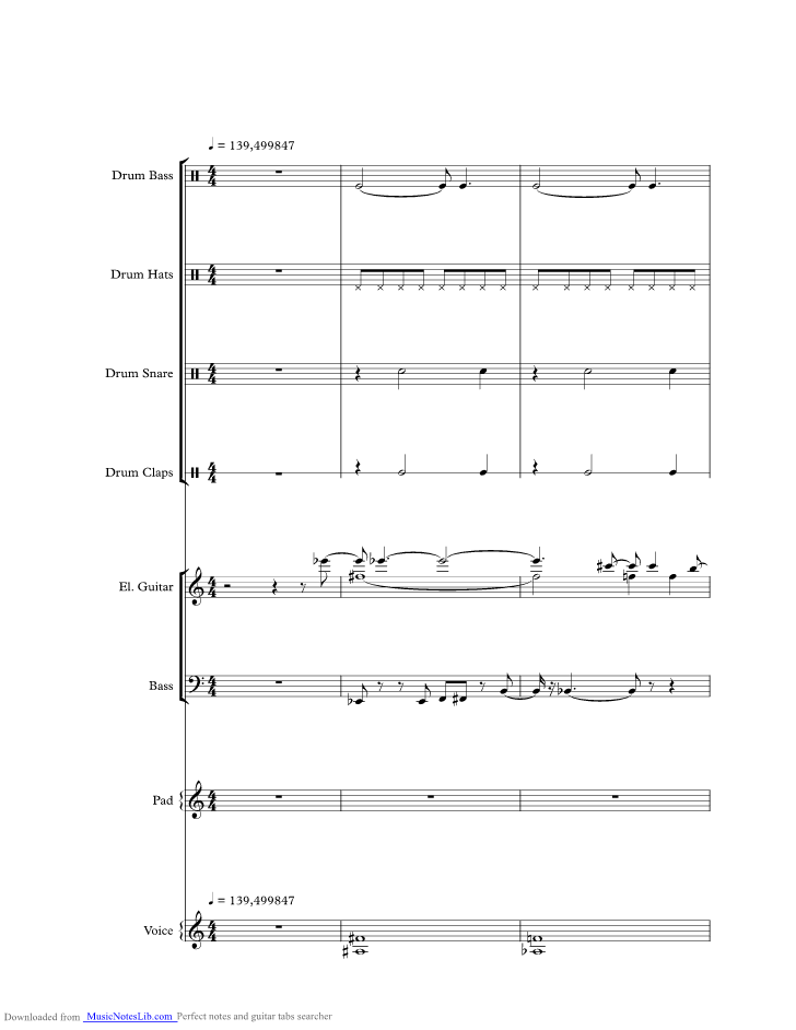 Feel Good Inc Music Sheet And Notes By Gorillaz Musicnoteslib