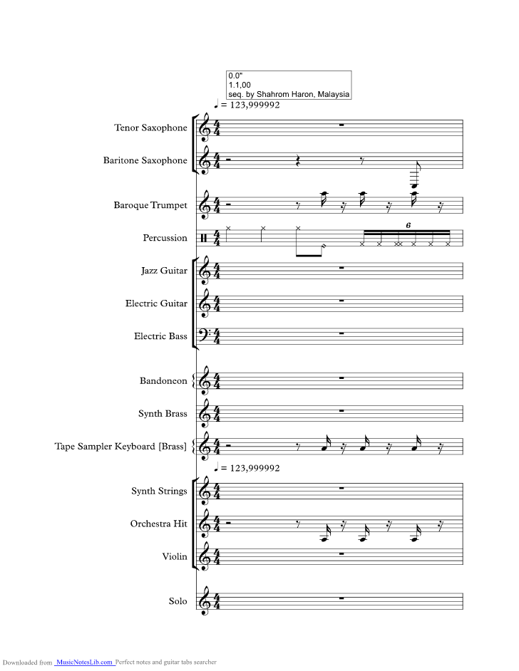 Sway music sheet and notes by Michael Buble @ musicnoteslib.com