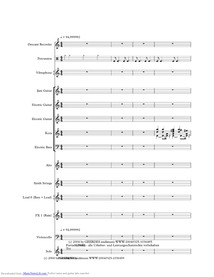Try Music Sheet And Notes By Nelly Furtado Musicnoteslib
