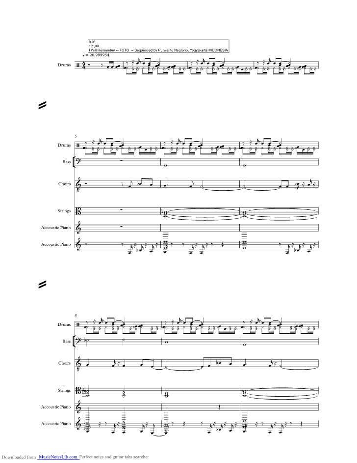 I Will Remember Music Sheet And Notes By Toto Musicnoteslib