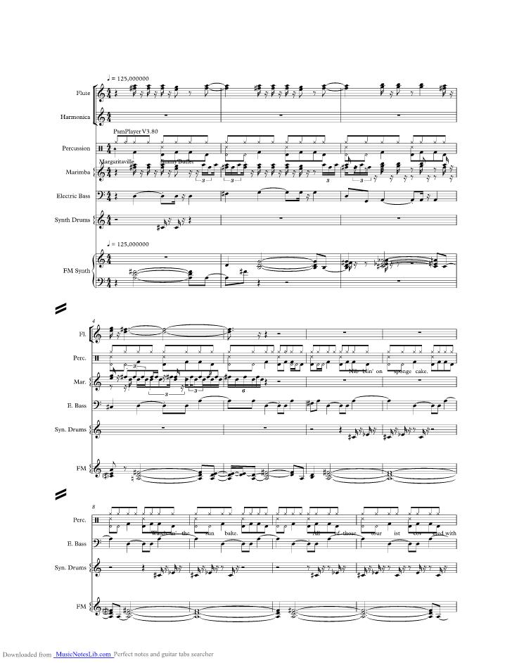 Margaritaville Music Sheet And Notes By Jimmy Buffett