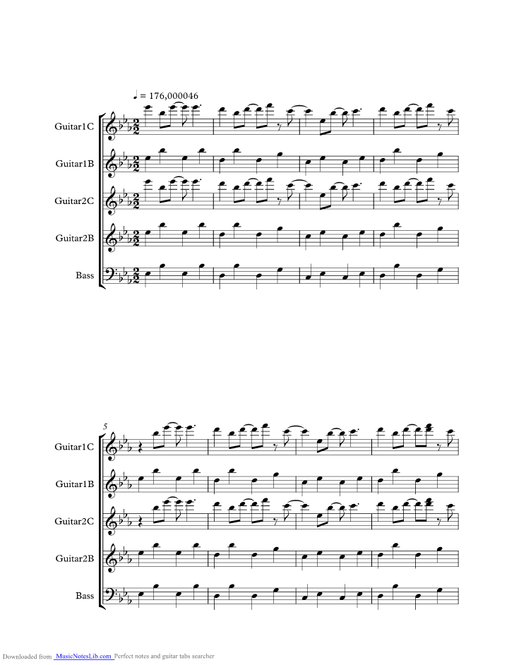 Landslide music sheet and notes by Smashing Pumpkins @ musicnoteslib.com