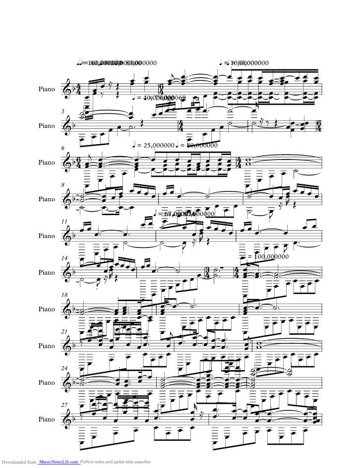Swept Away Music Sheet And Notes By Yanni Musicnoteslib
