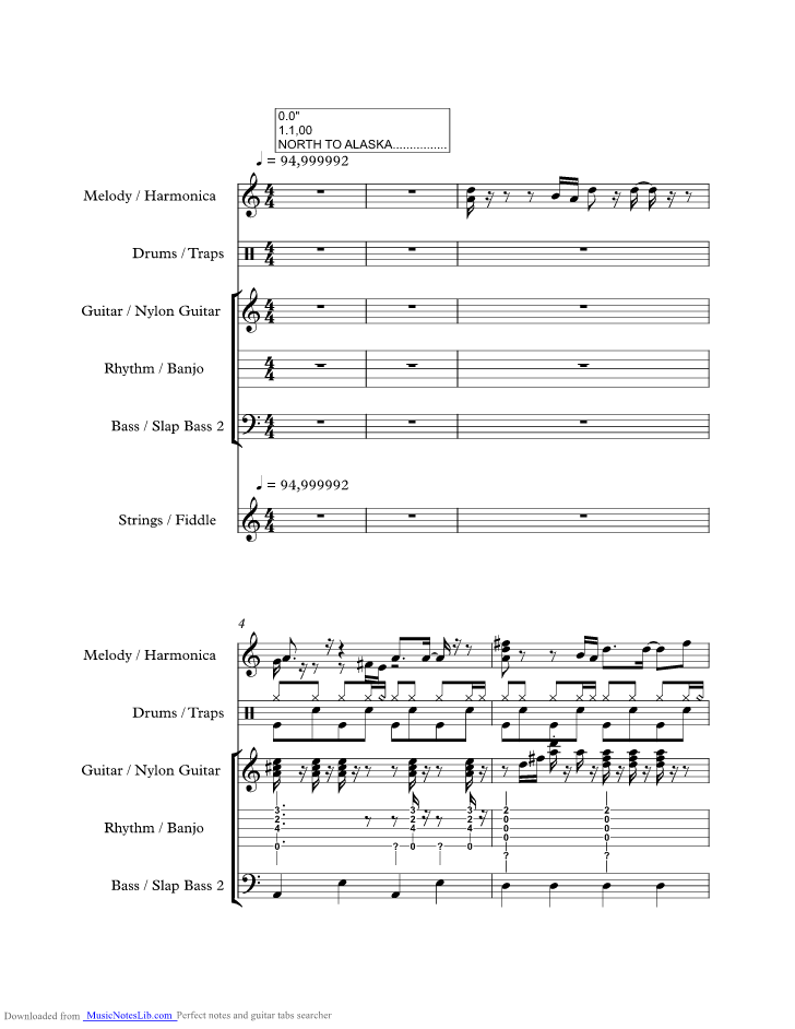 North To Alaska Music Sheet And Notes By Johnny Horton