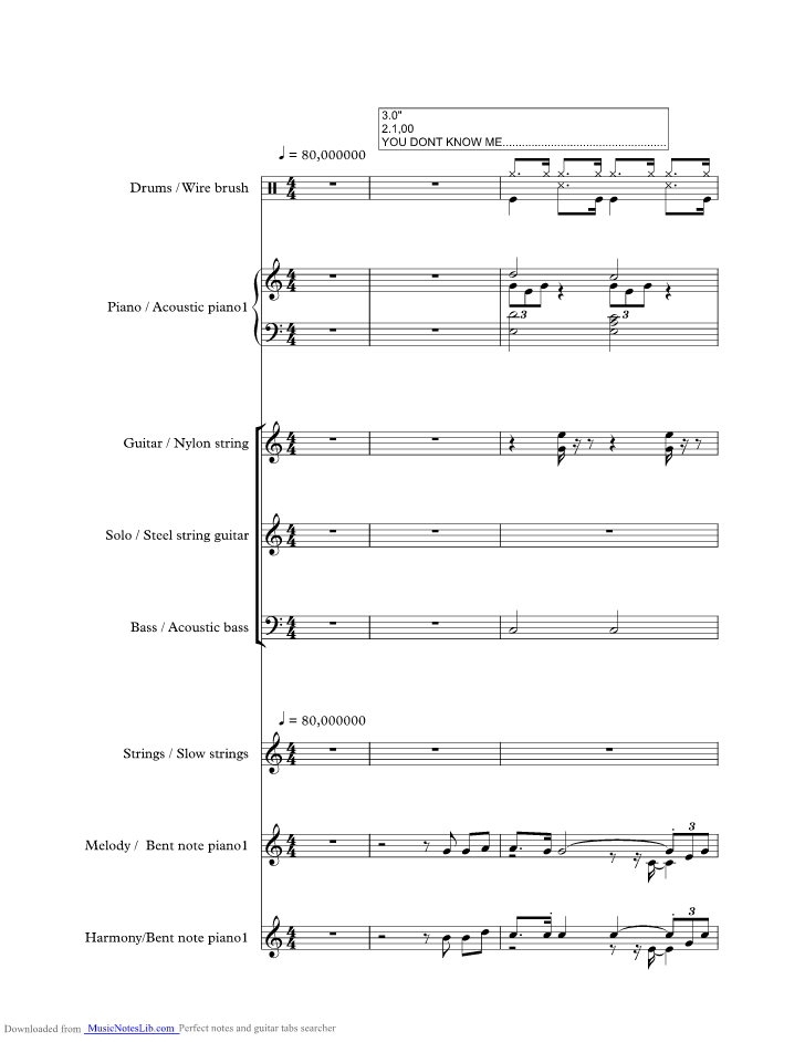 You Dont Know Me Music Sheet And Notes By Ray Charles