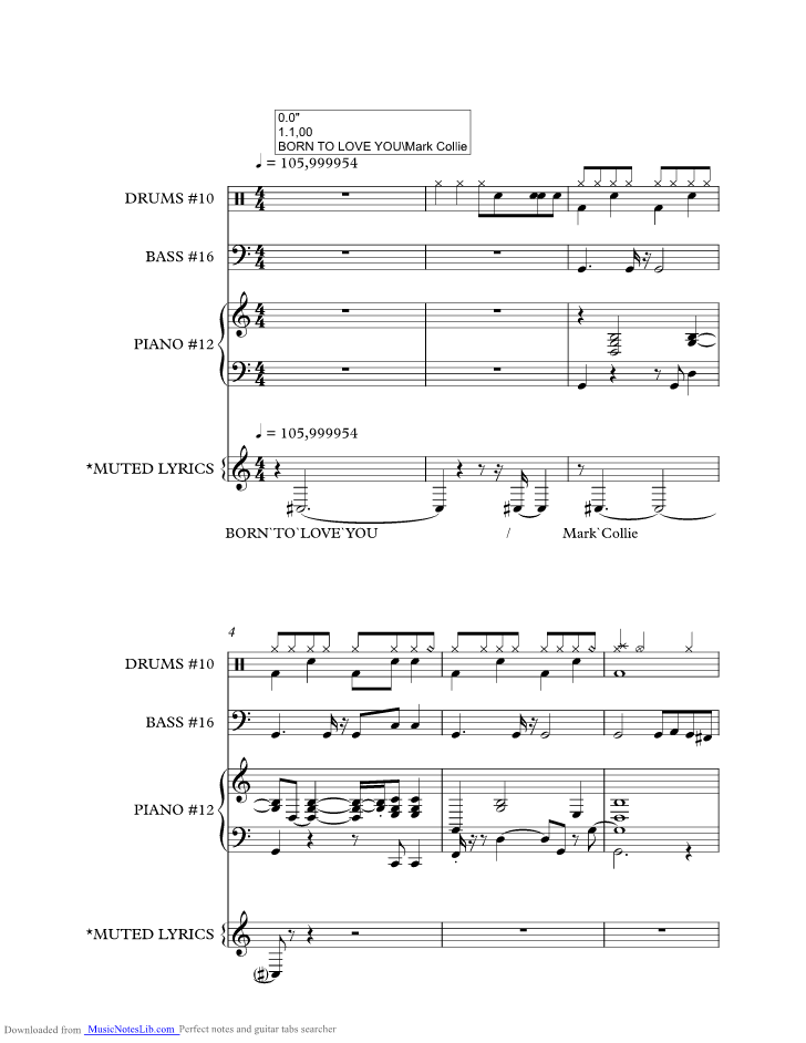Born To Love You music sheet and notes by Mark Collie ...