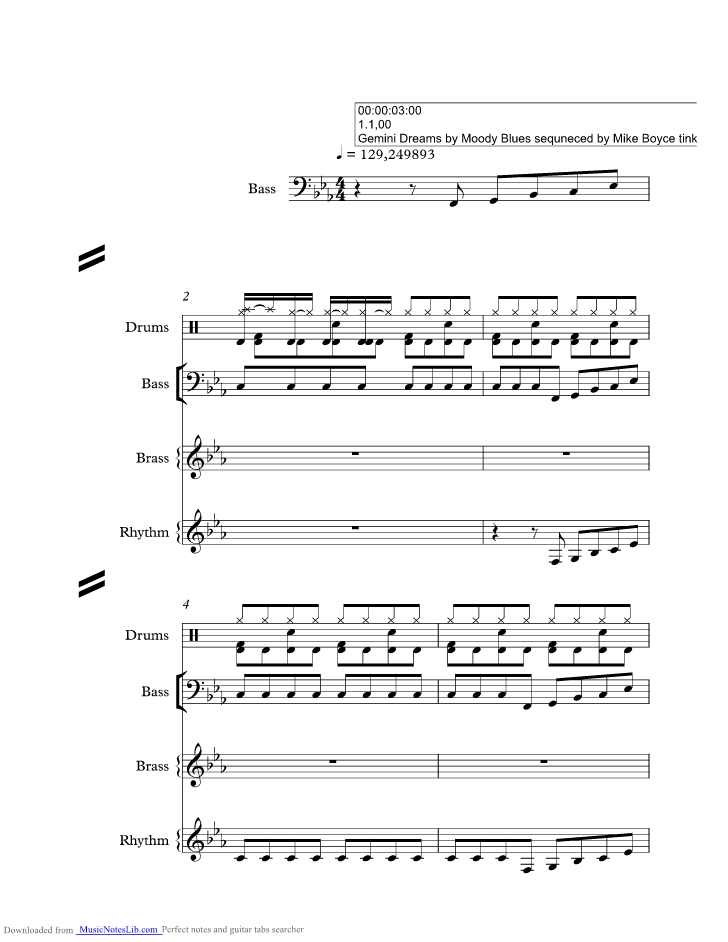 Gemini Dream music sheet and notes by Moody Blues @ musicnoteslib.com