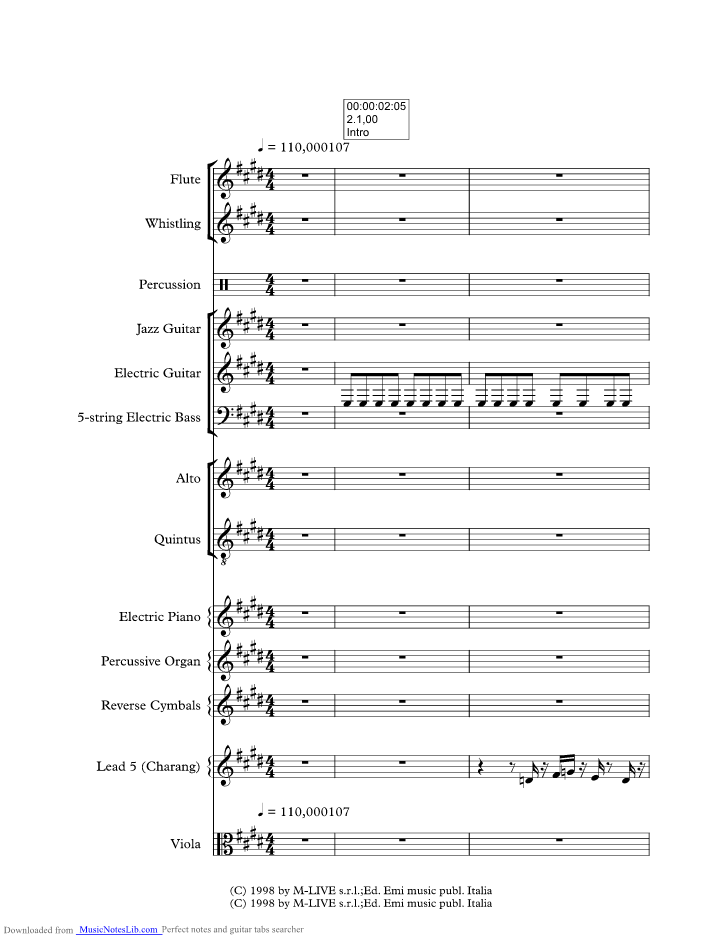 Be yourself music sheet and notes by Morcheeba @ musicnoteslib.com