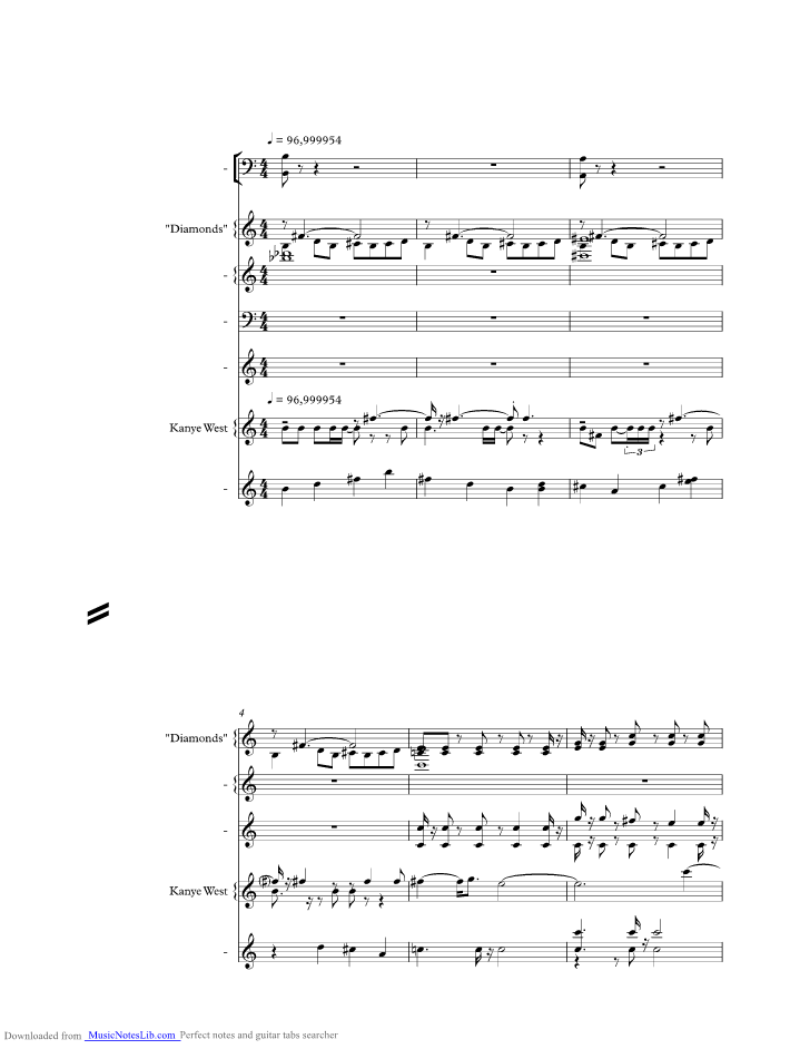 Diamonds Are Forever Music Sheet And Notes By Kanye West