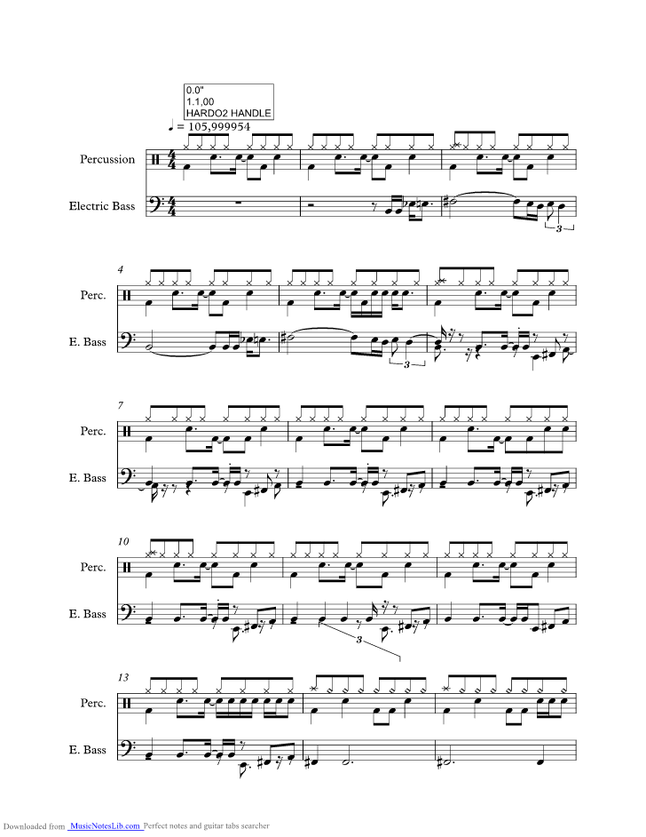 Hard To Handle music sheet and notes by Black Crowes @ musicnoteslib.com