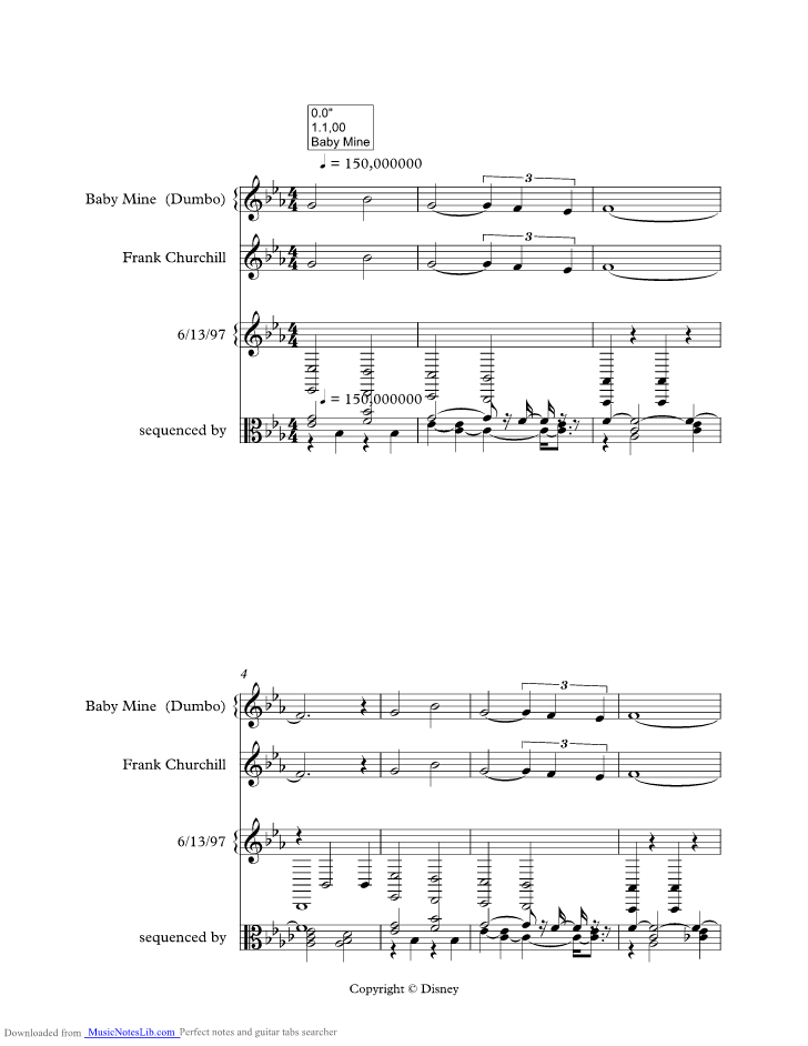 Baby Mine Music Sheet And Notes By Alison Krauss Musicnoteslib