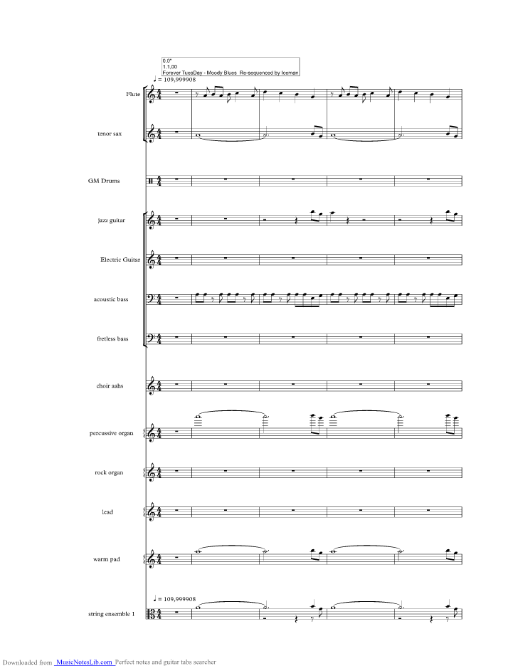 Tuesday Afternoon music sheet and notes by Moody Blues ...