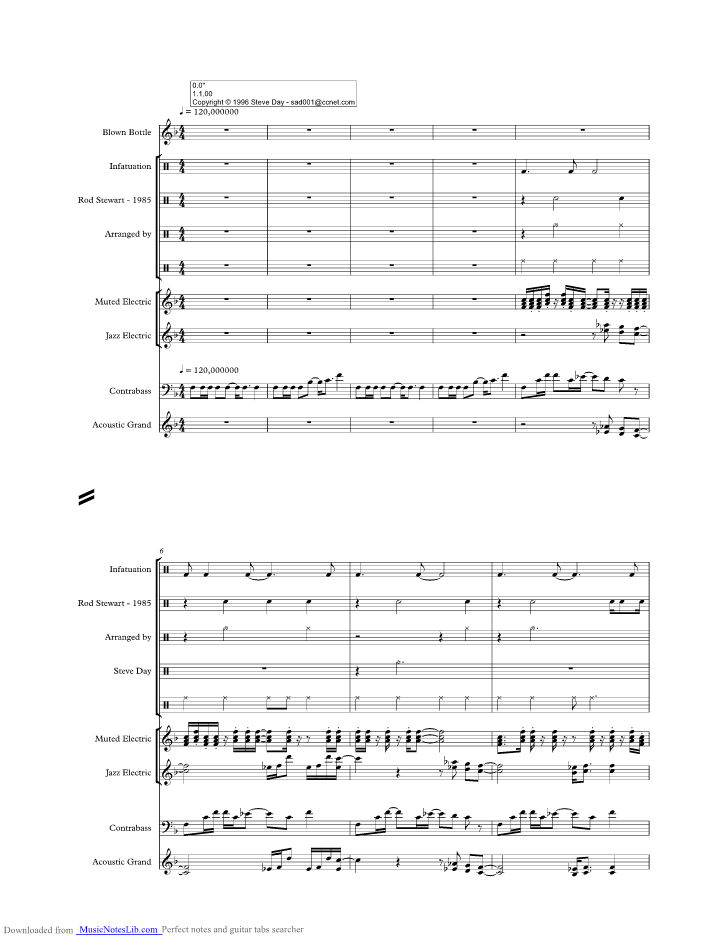 Infatuation Music Sheet And Notes By Rod Stewart Musicnoteslib