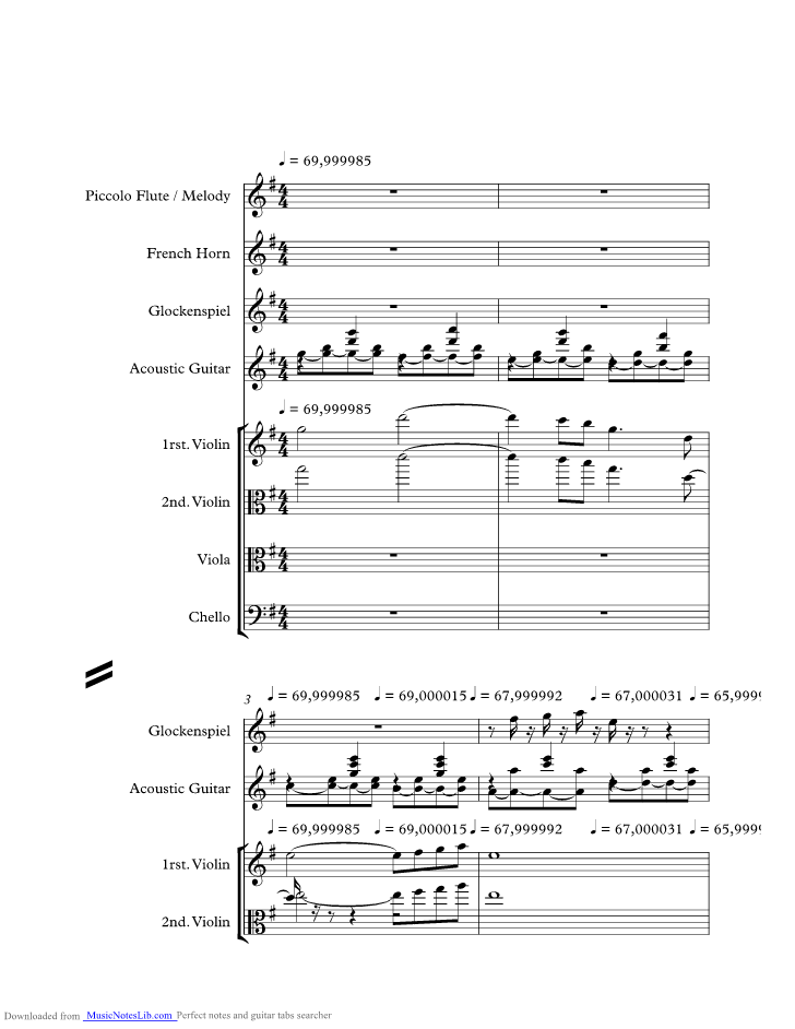 Aubrey Music Sheet And Notes By Bread Musicnoteslib