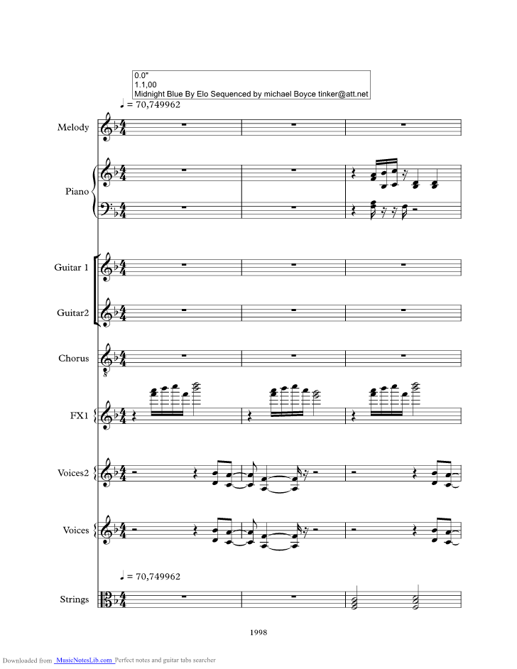 Midnight Blue Music Sheet And Notes By Elo Musicnoteslib