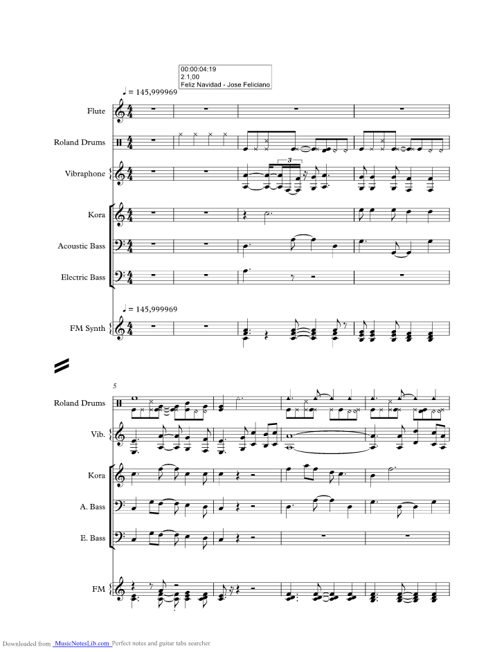 Feliz Navidad music sheet and notes by Jose Feliciano ...