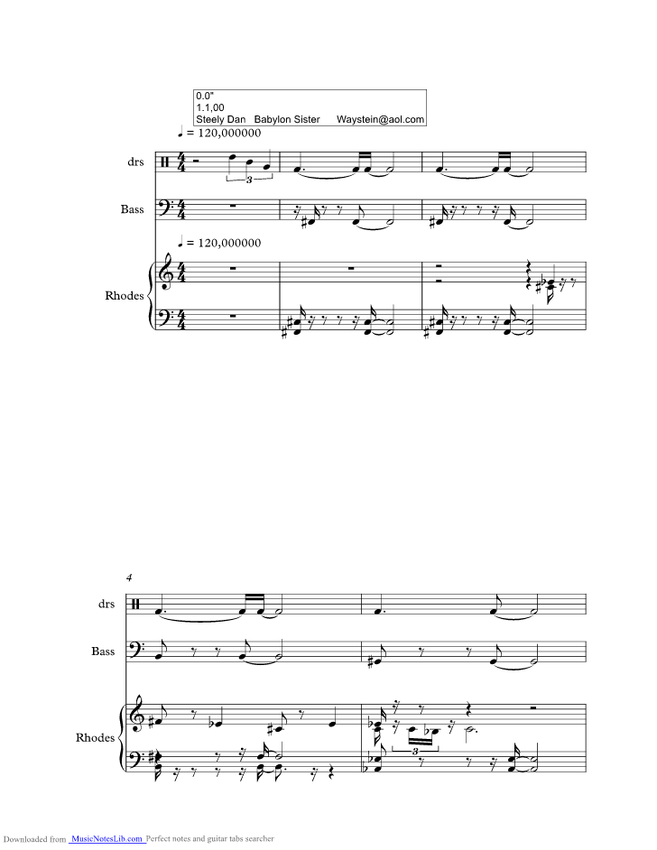 Babylon Sisters Music Sheet And Notes By Steely Dan Musicnoteslib