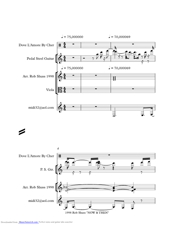 Dove Lamore Music Sheet And Notes By Cher Musicnoteslib