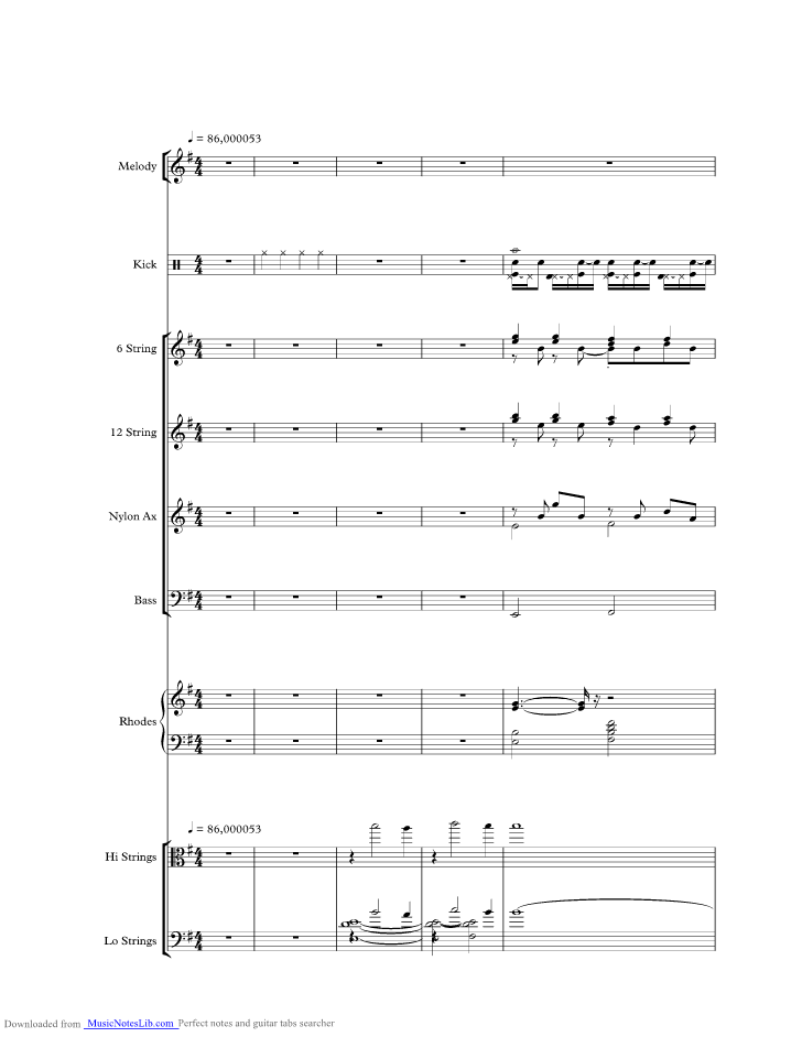 Into Temptation music sheet and notes by Crowded House ...