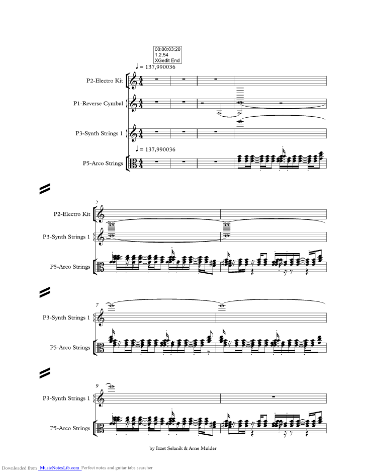 Sandstorm Music Sheet And Notes By Darude At Musicnoteslibcom
