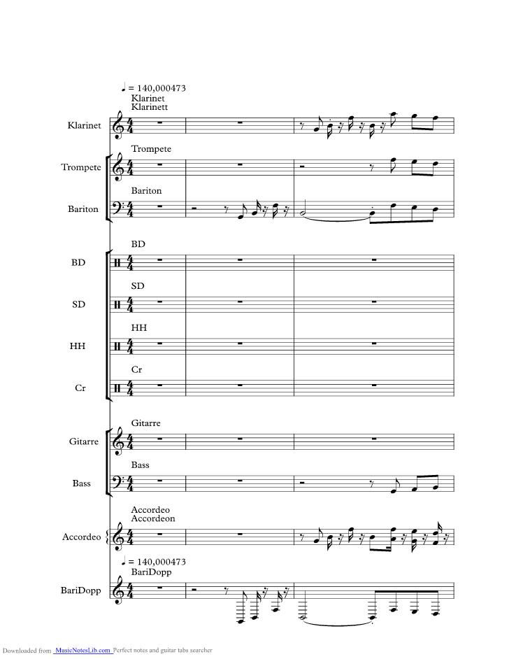 Trompeten Echo music sheet and notes by Die Original ...