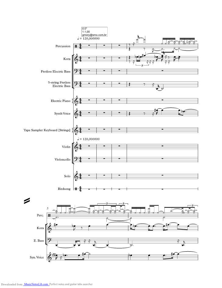 Correnteza music sheet and notes by Djavan @ musicnoteslib.com