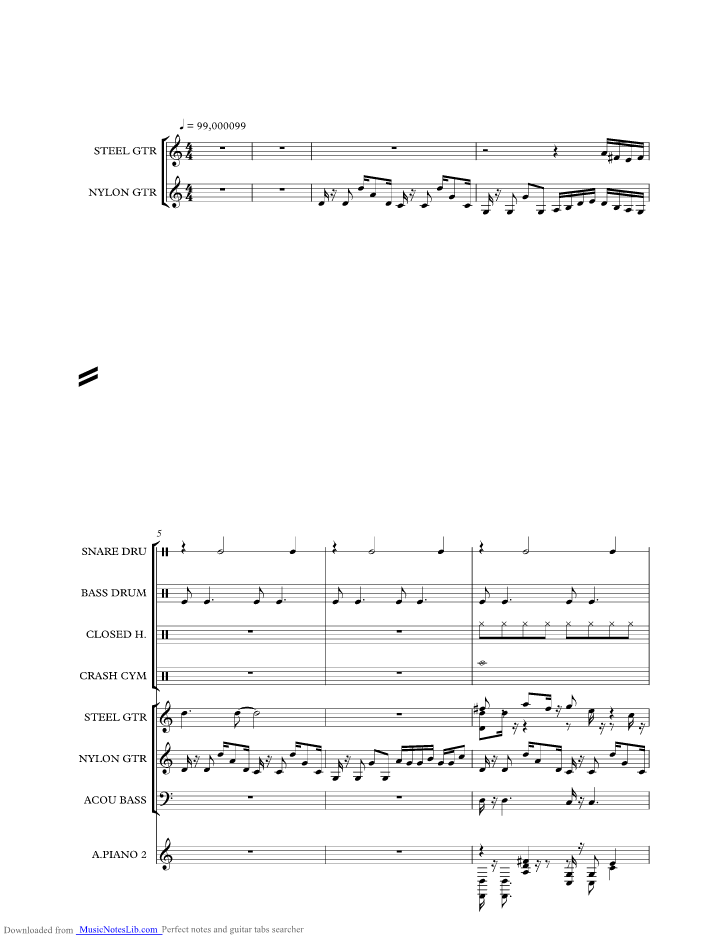Sweet Home Alabama Music Sheet And Notes By Lynyrd Skynyrd