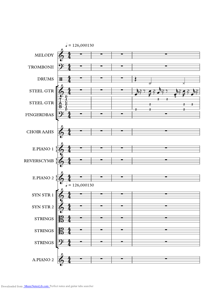 Wish You Were Here music sheet and notes by Rednex @ musicnoteslib.com