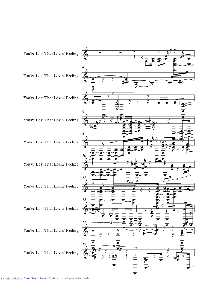 unchained melody righteous brothers sheet music pdf