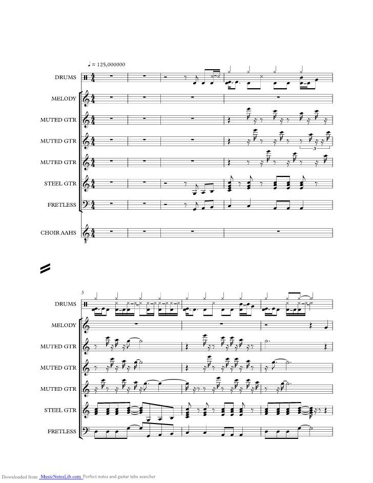 PERFIDIA music sheet and notes by The Shadows @ musicnoteslib.com