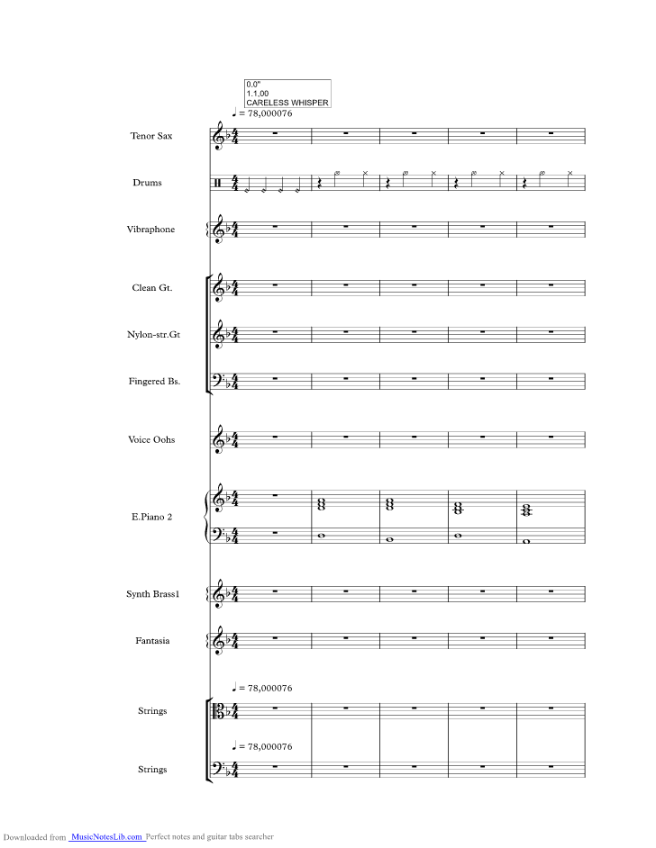 Careless Whisper Music Sheet And Notes By Wham Musicnoteslib