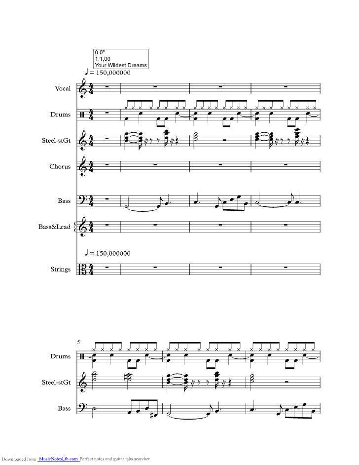 Your Wildest Dreams music sheet and notes by Moody Blues ...