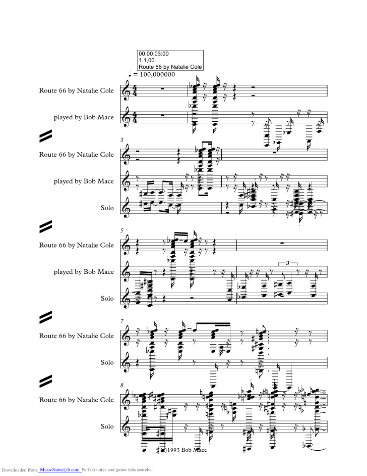 Route Music Sheet And Notes By Nat King Cole Musicnoteslib