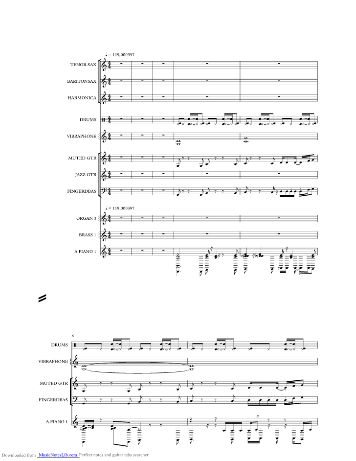 Spooky Days Off music sheet and notes by Swinging Soul Machine ...