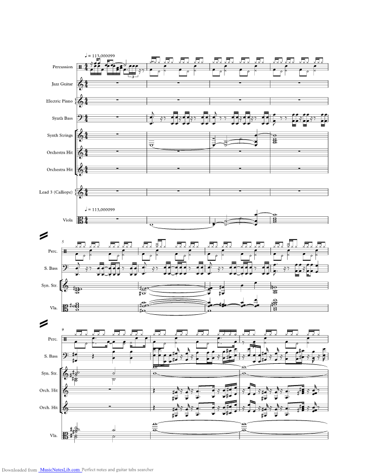 Breakout music sheet and notes by Swing Out Sister