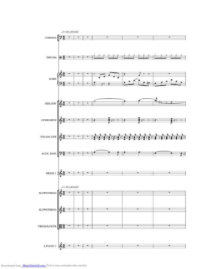 Unchained Melody Music Sheet And Notes By The Shadows