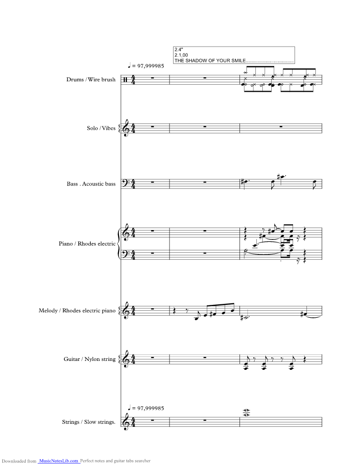 The Shadow Of Your Smile Music Sheet And Notes By Tony Bennett