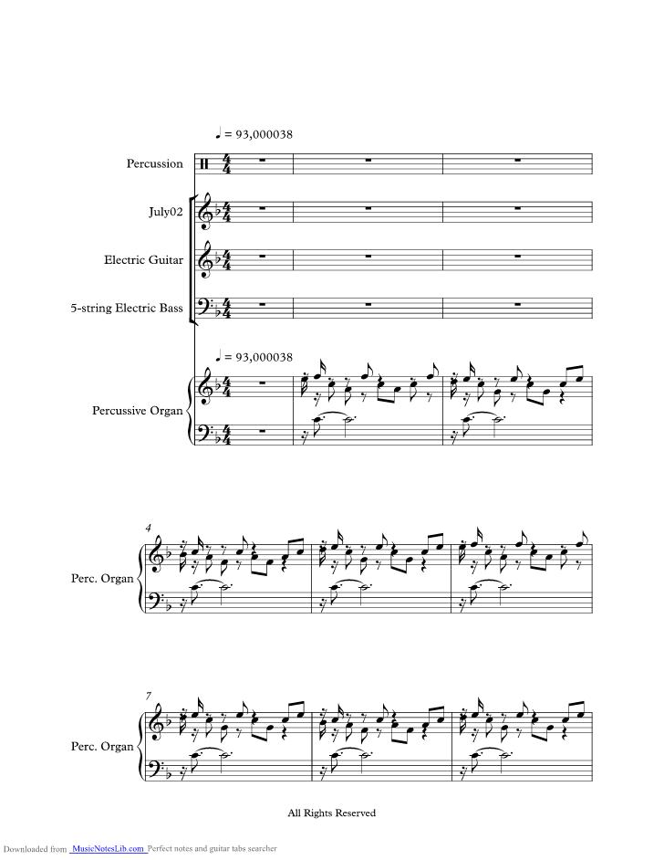July Morning music sheet and notes by Uriah Heep @ musicnoteslib com