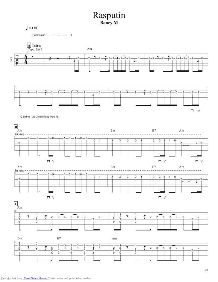 Rasputin Guitar Pro Tab By Boney M Musicnoteslib