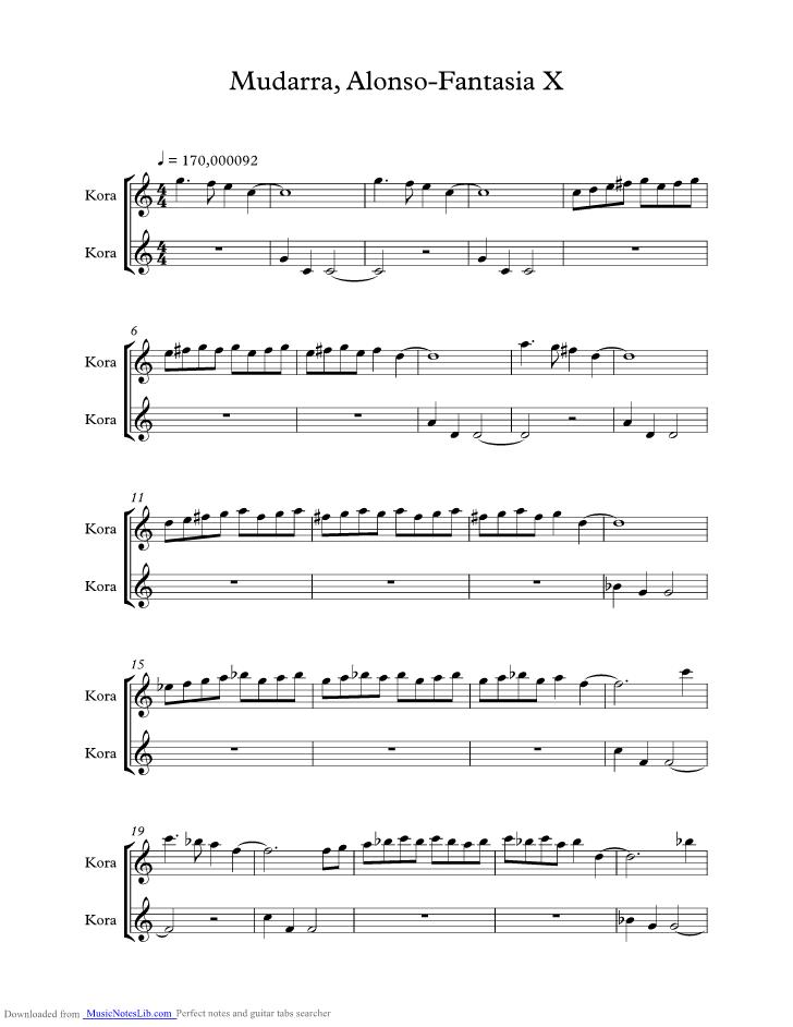 Fantasia X music sheet and notes by Mudarra Alonso @ musicnoteslib.com