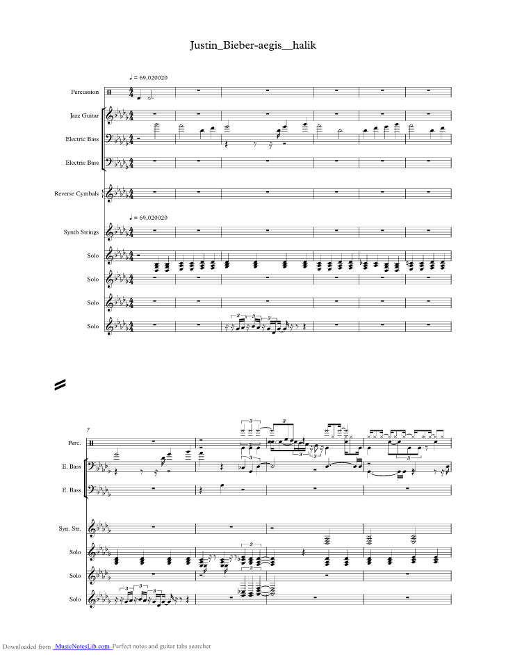 aegis halik music sheet and notes by Justin Bieber @ musicnoteslib.com