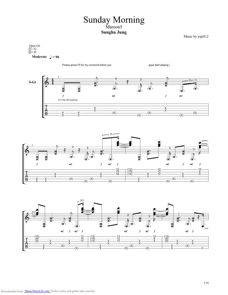 Sunday Morning Guitar Chords