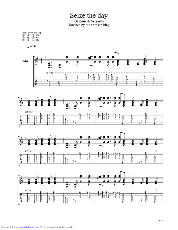 Seize The Day guitar pro tab by Demons And Wizards @ musicnoteslib.com