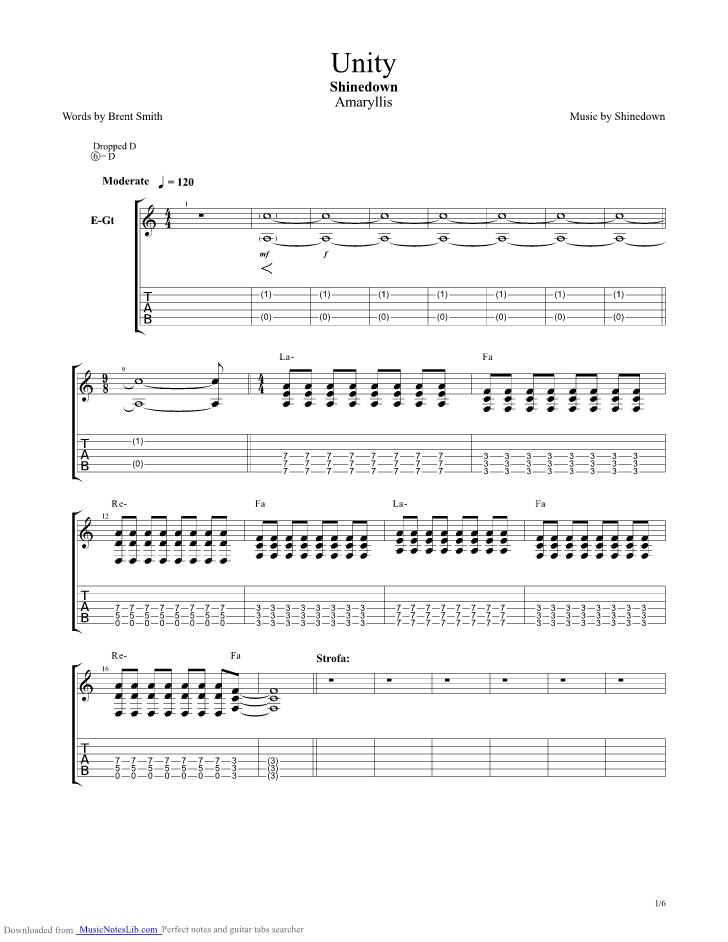 Unity guitar pro tab by Shinedown @ musicnoteslib.com