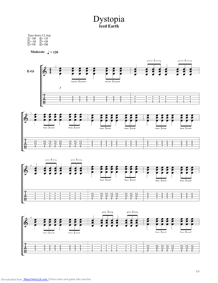 Dystopia guitar pro tab by Iced Earth @ musicnoteslib.com