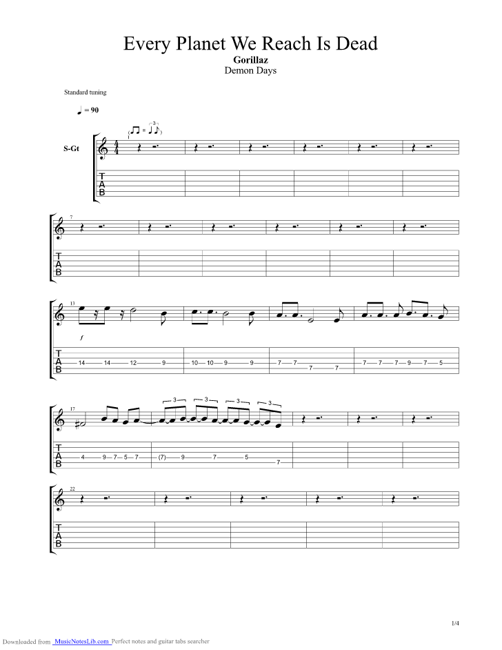 Every Planet We Reach Is Dead Guitar Pro Tab By Gorillaz