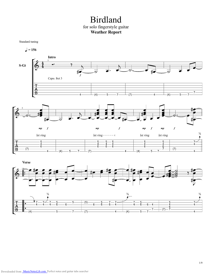 birdland weather report sheet music pdf
