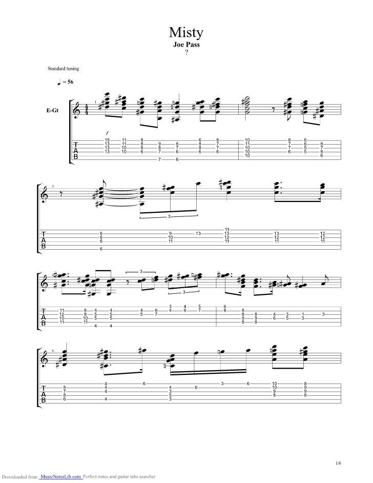 Misty guitar pro tab by Joe Pass @ musicnoteslib.com
