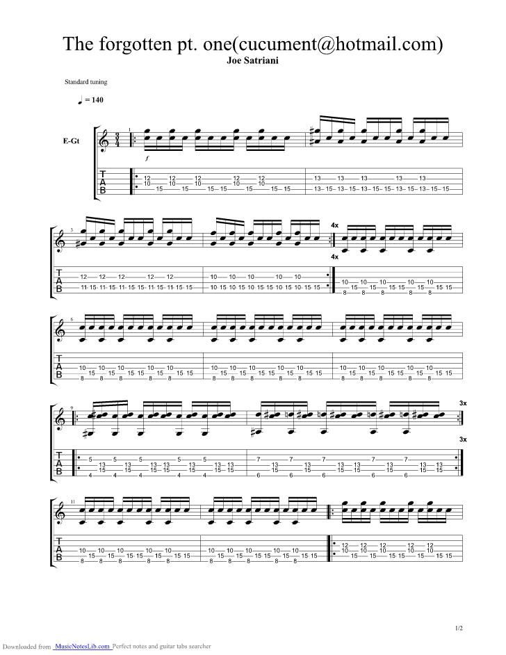 The Forgotten Part 2 Guitar Pro Tab By Joe Satriani Musicnoteslib