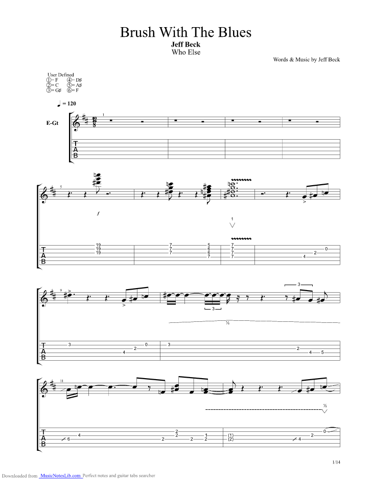 Brush With The Blues guitar pro tab by Jeff Beck @ musicnoteslib com